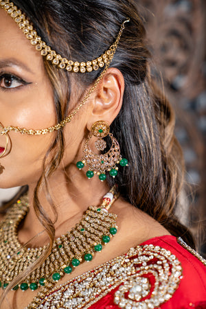 || ISHQ || Indian Bridal Set in Green with Polki Stones