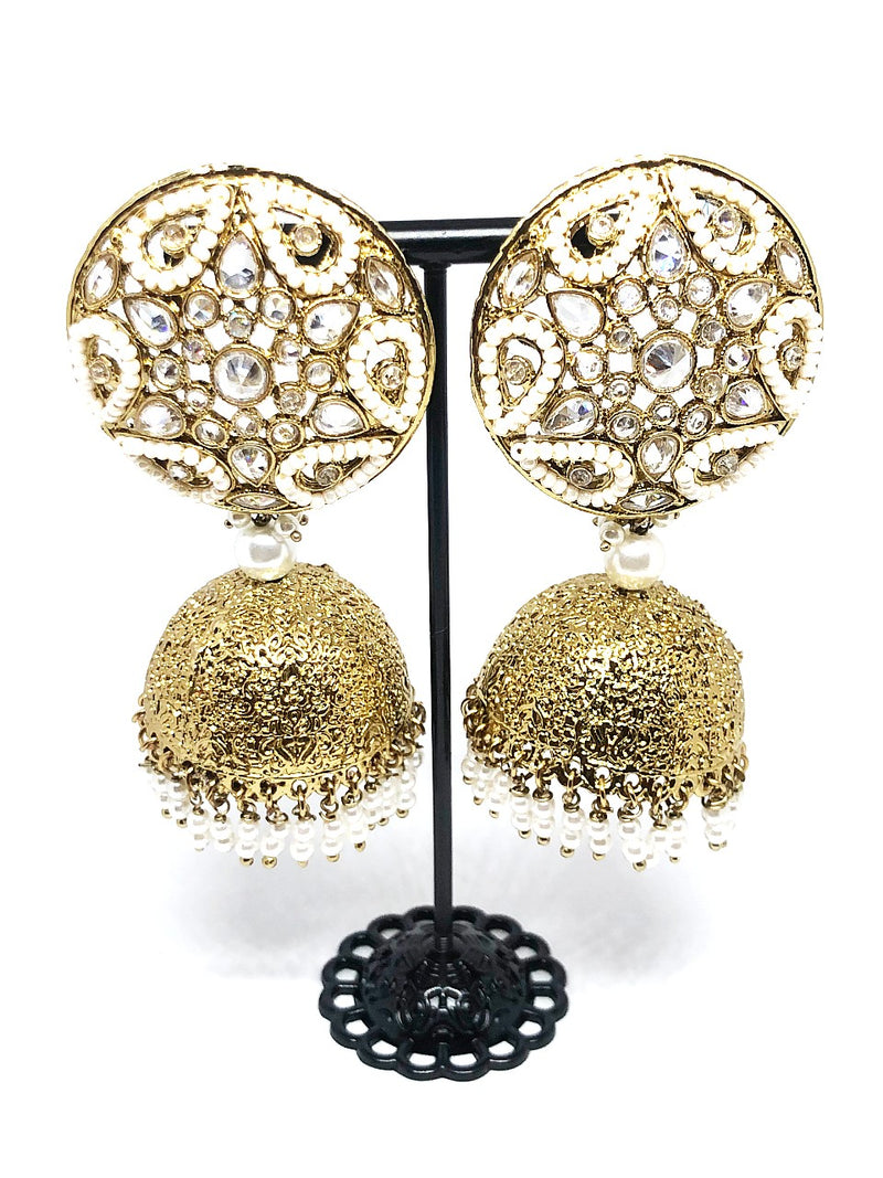 White & Gold Indian Jhumkas / Jhumkis