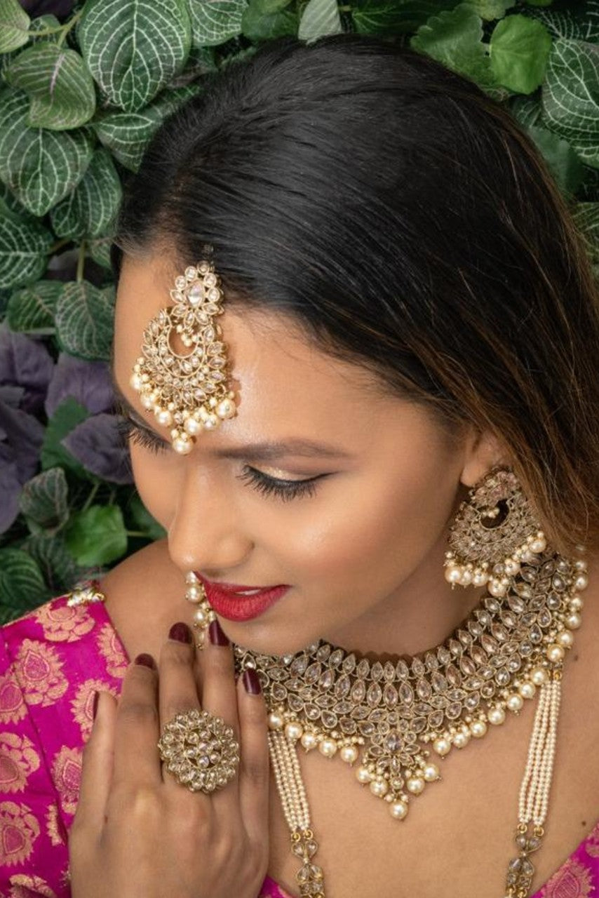 || KARISHMA || Necklace with Earrings & Tikka and Champagne Pearls