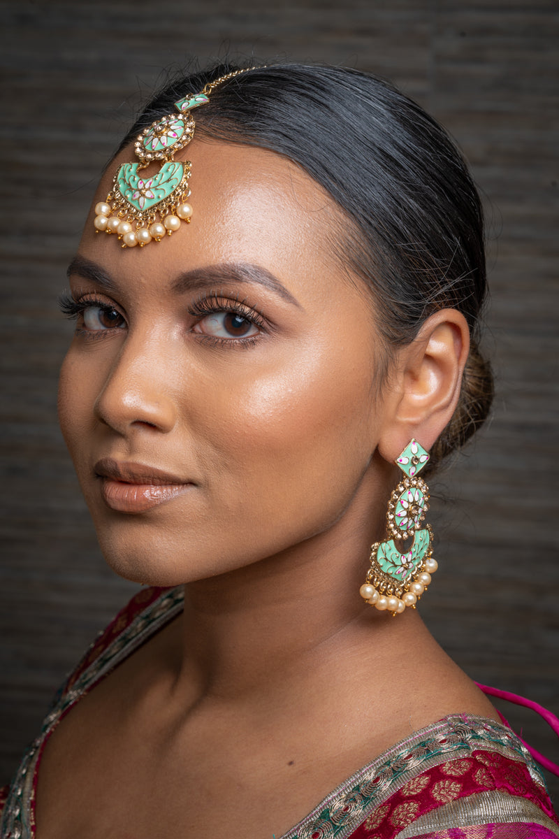 Dusty Green Meenakari Earrings & Tikka Set