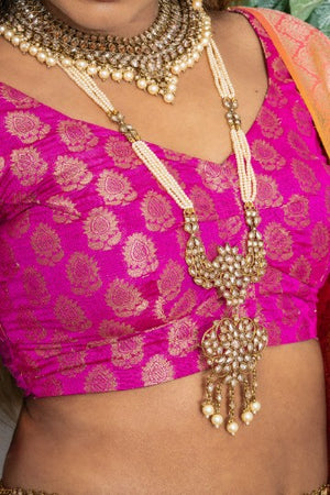 || VANI HAAR || Indian Long Necklace with peach pearls and Earrings