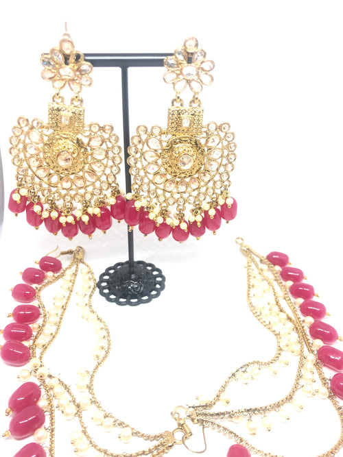 Magenta Gold Floral Earrings with beaded Kaan Chain