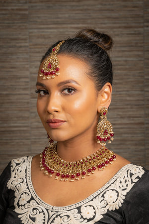|| KAVYA || Maroon Stone Choker Necklace with Earrings & Tikka with Champagne Pearls