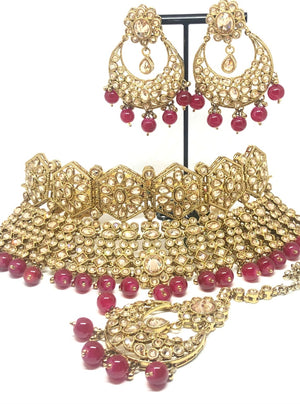 || SAPNA || Necklace with Earrings & Tikka with Red Glass Beads
