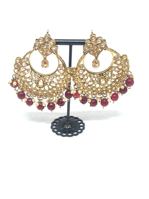 || MEHGA || Necklace with Earrings & Tikka with Maroon Glass Beads