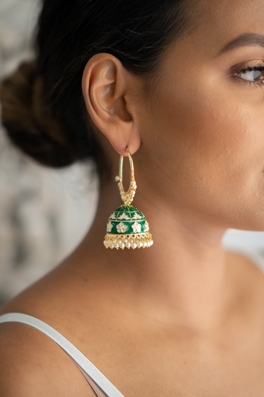 Green Meenakari Hoop Jhumka Earrings