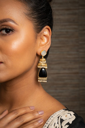 Matt Gold Opal & Black Indian Earrings