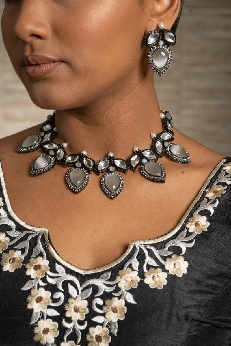 || NARLA || Western Style Necklace with Earrings in Kundan Style Stones