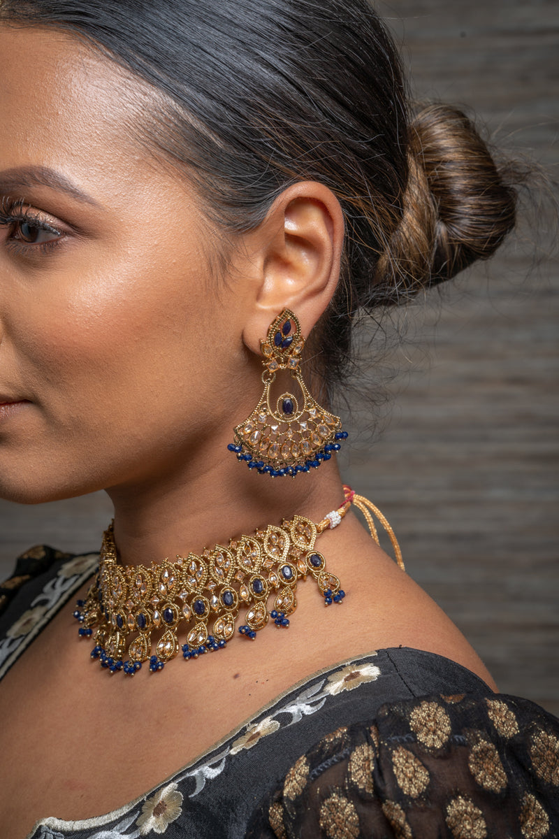 || KHOOB || Gold Indian Necklace, Earrings & Tikka in Navy Blue