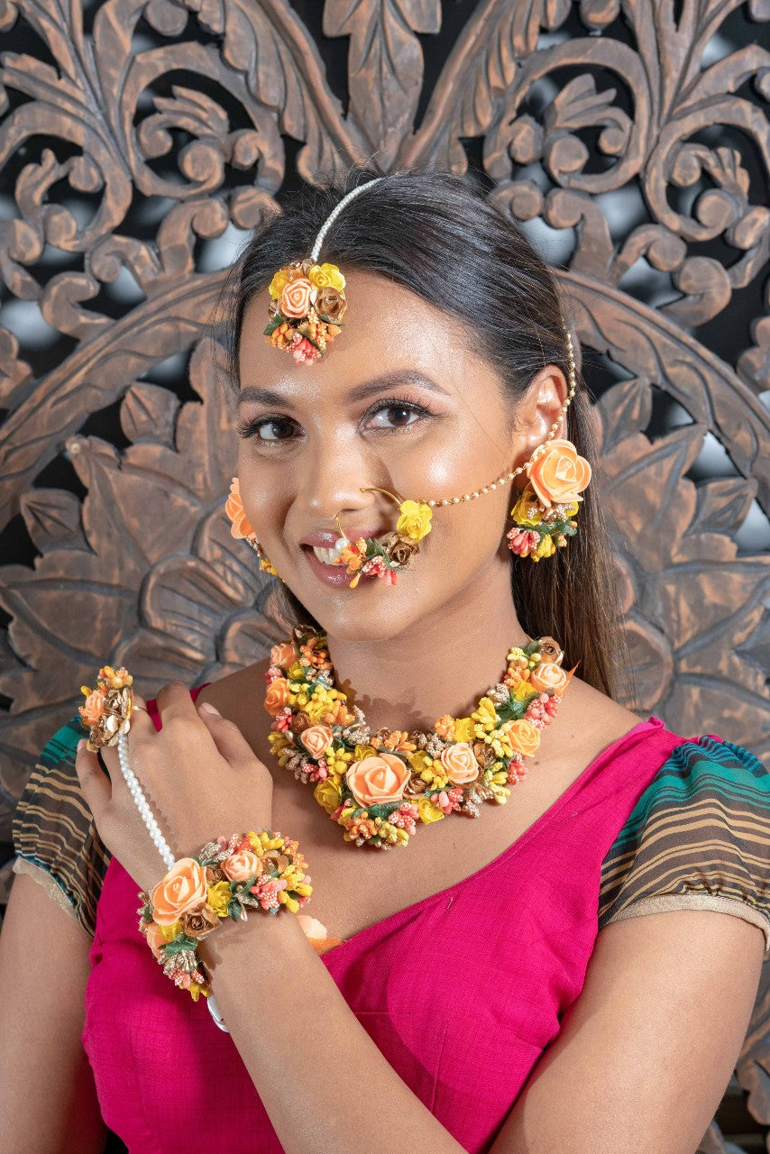 || LILJA || Orange Floral Jewellery with Earrings, Tikka & Hand Piece