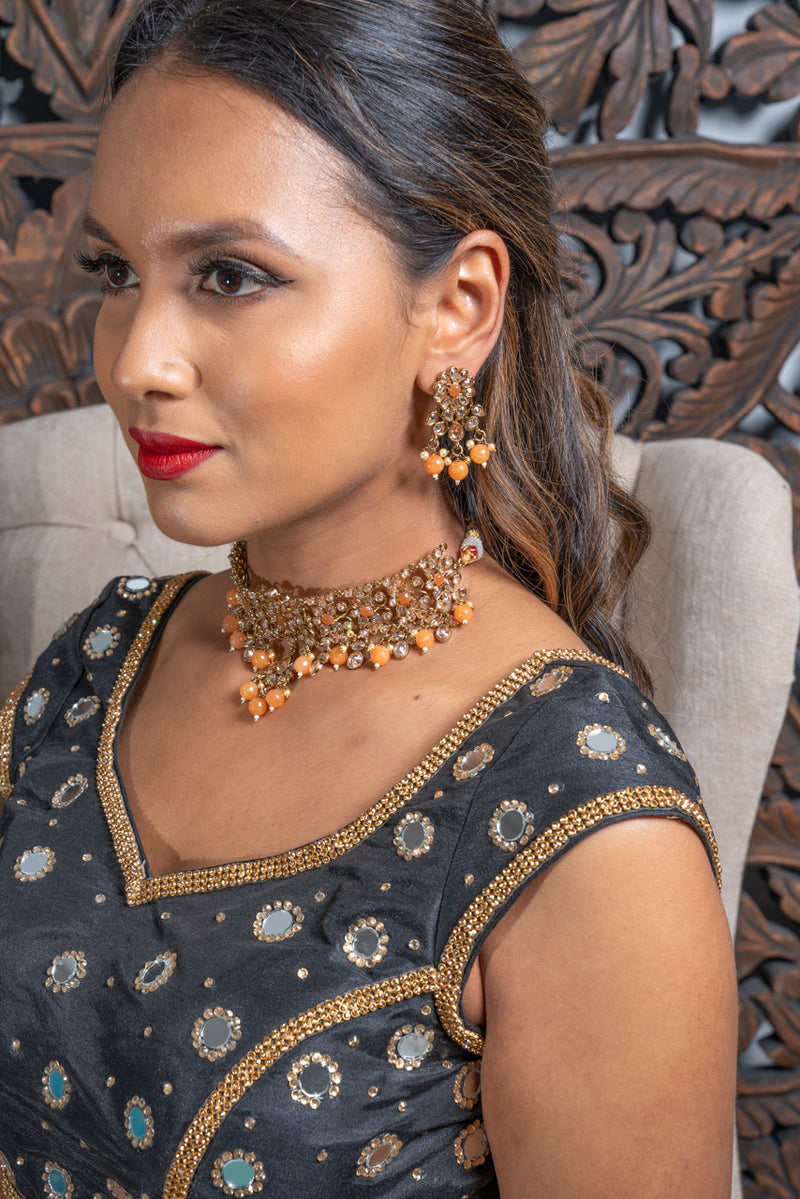 || SUKHI || Orange & Gold Beaded Necklace & Earrings Set
