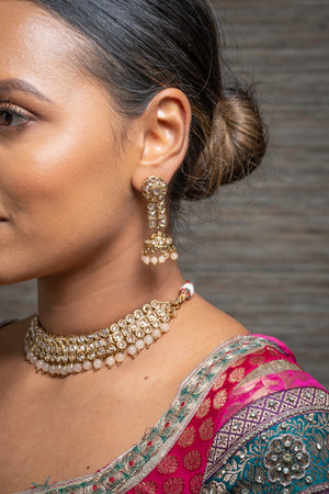 || KAIA || Peach Choker with Earrings & Tikka with Gold Stones