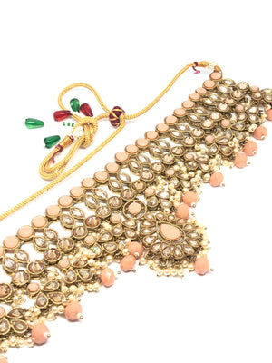 || ZARA || Peach Stone Choker Necklace with Earrings & Tikka with Pearls