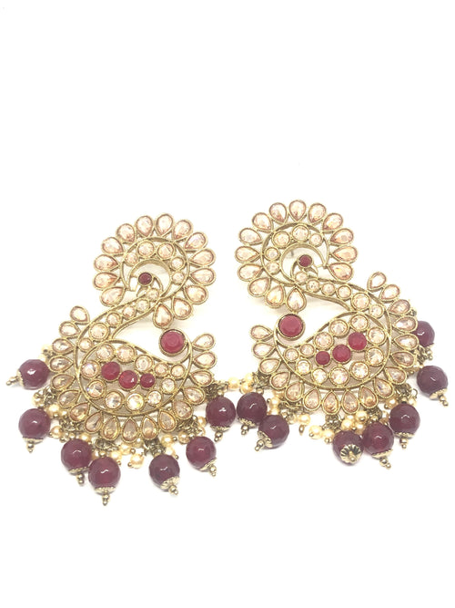 Peacock Shaped Red and Gold Earrings