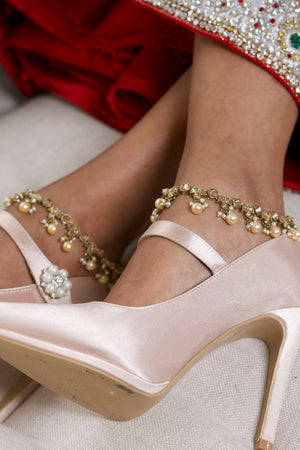 Gold Anklets (Payal) with Champagne Pearls
