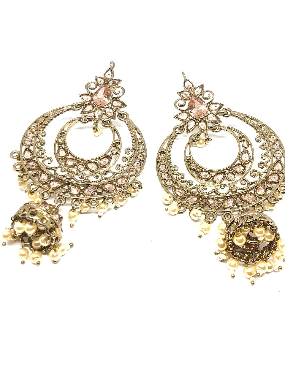 Gold & Pearl Earrings with Small Jhumkis