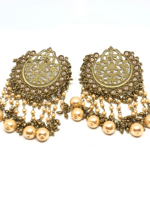 Mesh Gold & Pearl Indian Earrings