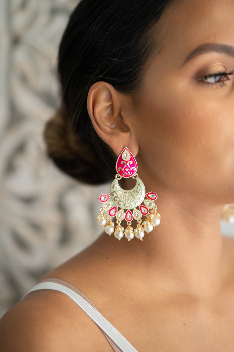 Pink & Lime Creme Meenakari Dangling Pearl Earrings