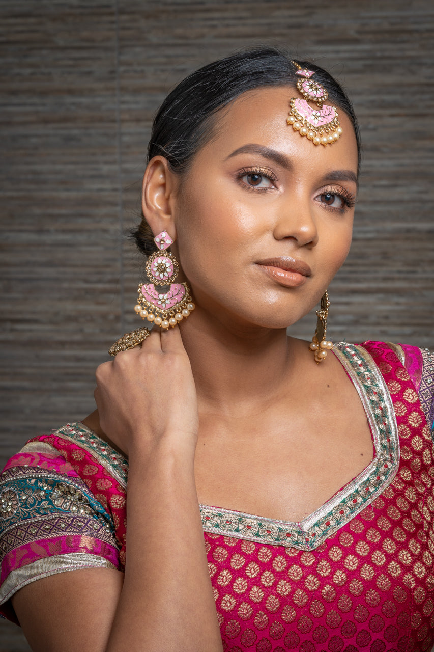 Dusty Pink Meenakari Earrings & Tikka Set