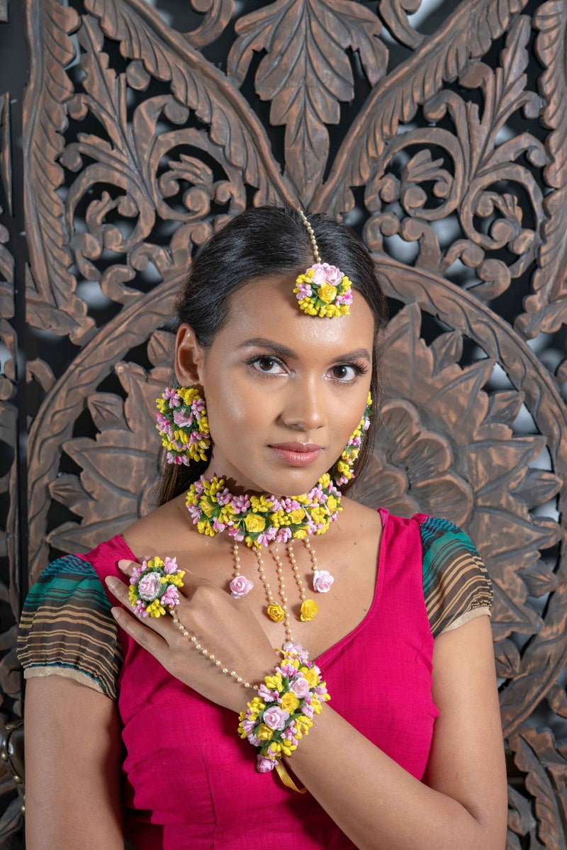 || AAKILA || Floral Jewellery Pink and Yellow Necklace with Earrings, Tikka & Hand Piece