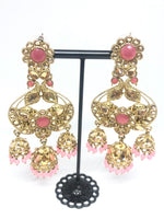 Large Dangling Dusty Pink indian Earrings