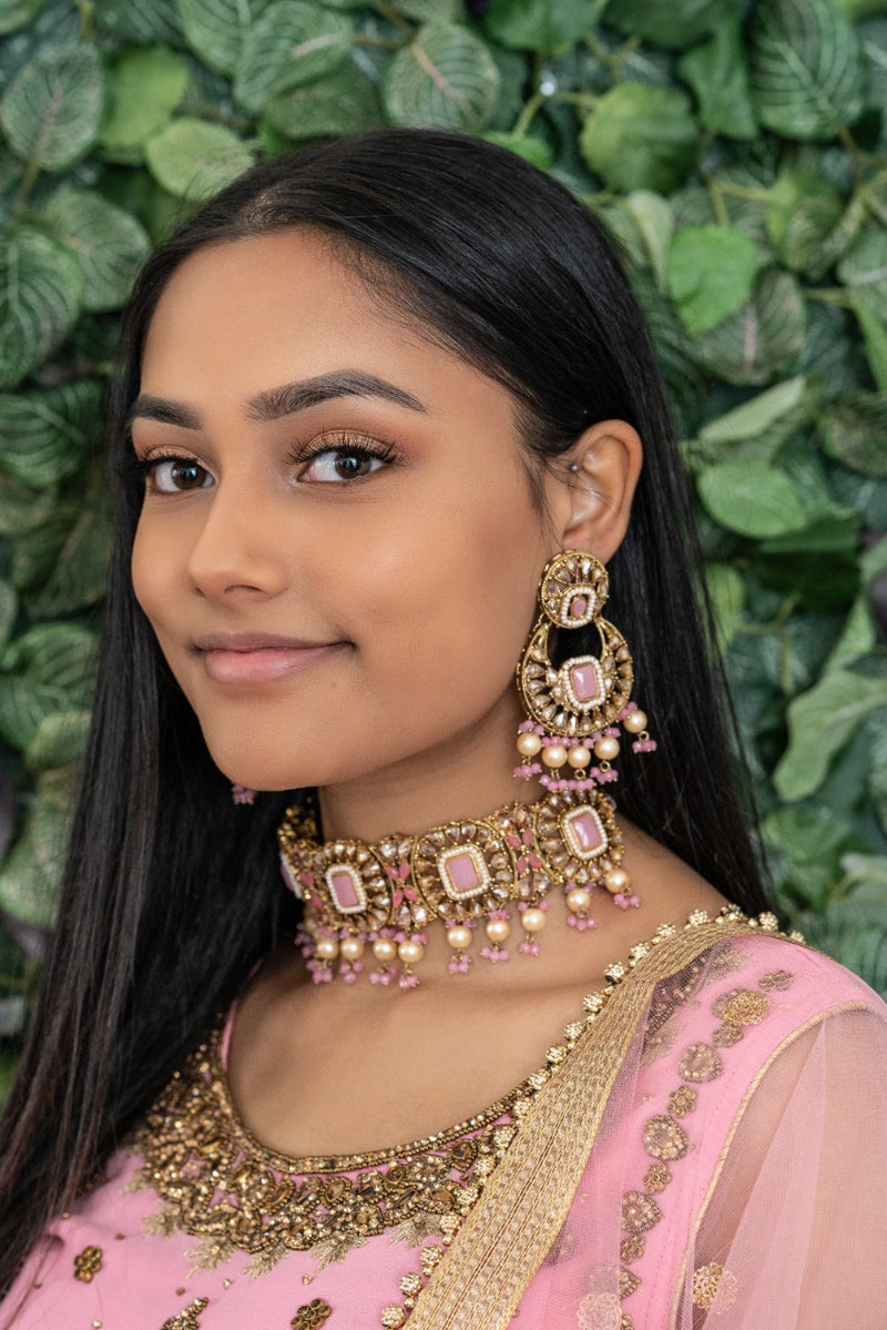 || RAVEENA || Pastel Pink Stone Choker Necklace with Earrings & Tikka