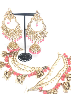 Pink Gold Jhumkis with Jhumka Kaan Chain