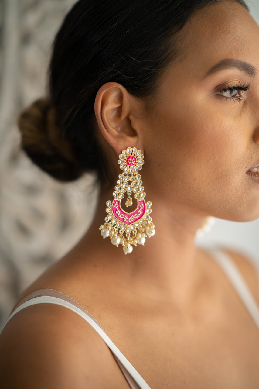 Pink Meenakari Dangling Pearl Earrings