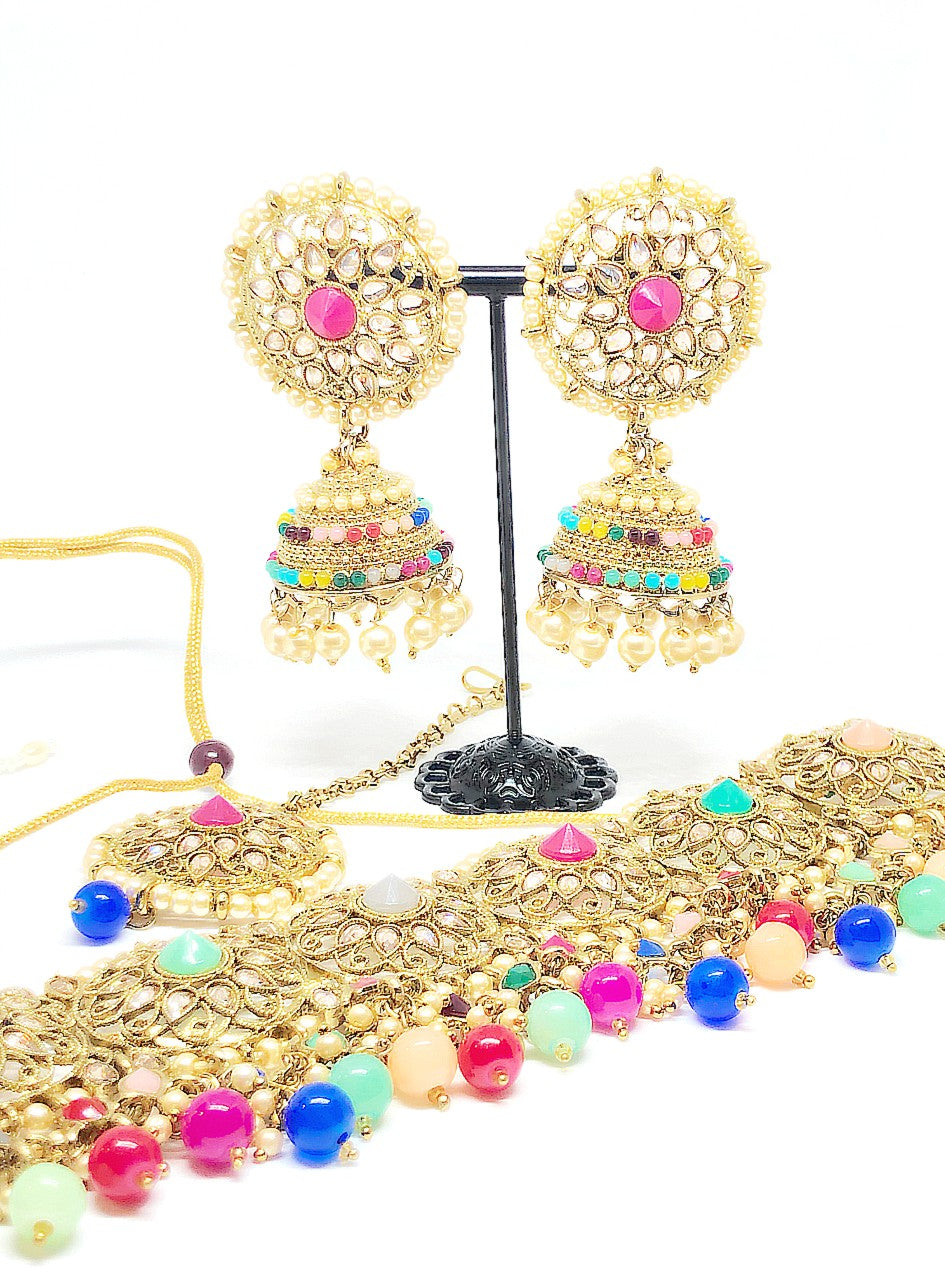 || RADHA || Peach Stone Choker Necklace with Earrings & Tikka with Pearls