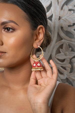 Red Meenakari Hoop Jhumka Earrings