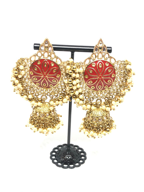 Gold & Red Meenakari Earrings with Jhumkis
