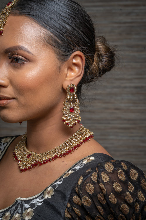 || GULABI || Red Gold Indian Necklace, Earrings & Tikka