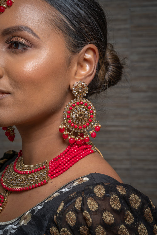 || IZNA || Red Beaded Necklace with Earrings & Tikka with Gold Stones