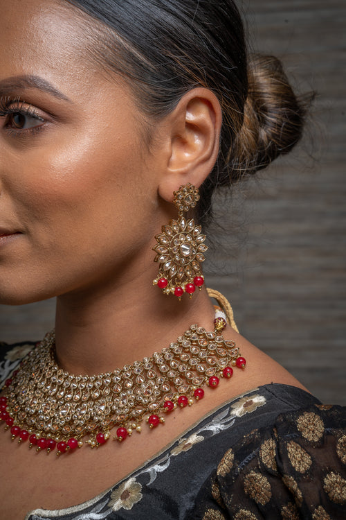 || HIYA || Red Beads Necklace with Earrings & Tikka with Gold Stones
