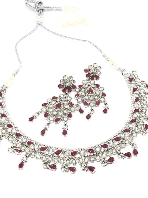 || SITARA RED || Flat Lightweight Silver Round Necklace with Earrings