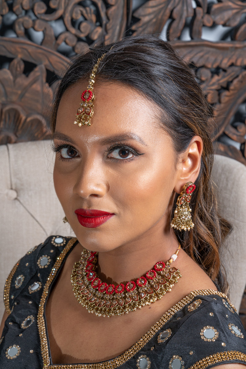 || KASH || Red & Gold Meenakari Indian Necklace, Earrings & Tikka