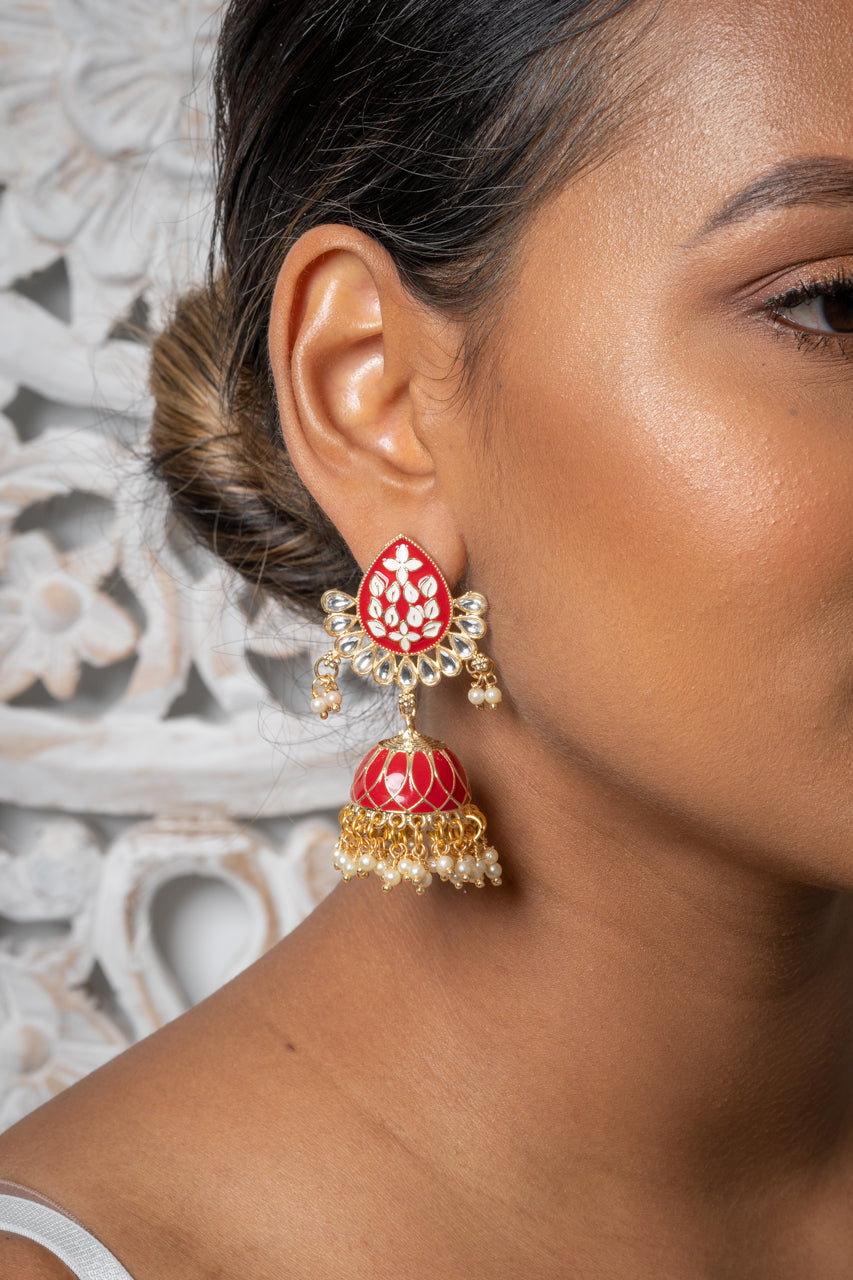Red Meenakari Jhumka Earrings