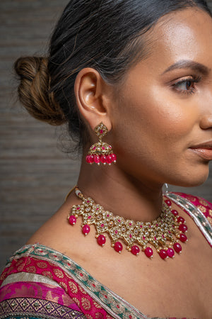 || DEVYA || Red & Gold Beaded Necklace & Earrings Set