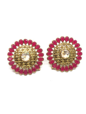 Red Round Indian Studs