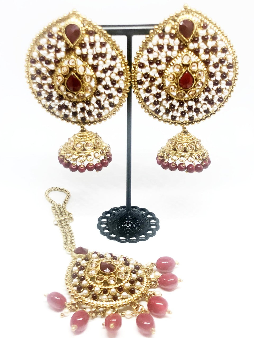 || SAAJAN || Gold & Maroon Tikka with Earrings