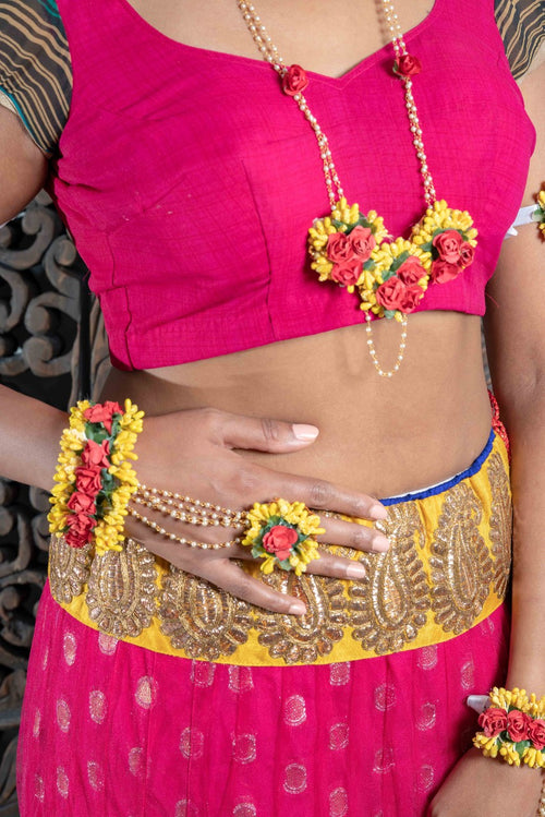 || PUTRI || Red & Yellow Floral Jewellery with Earrings, Tikka & Hand Piece