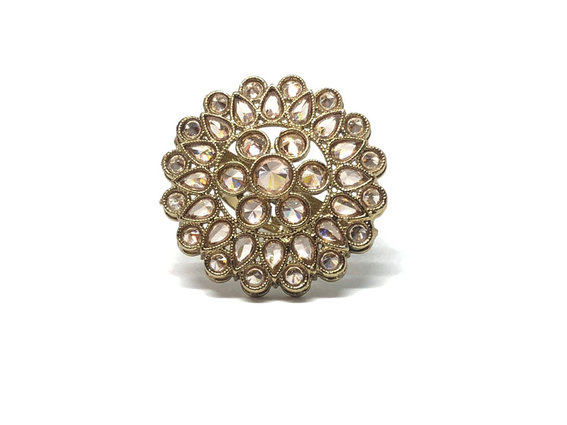 Round Ring with Champagne Stones