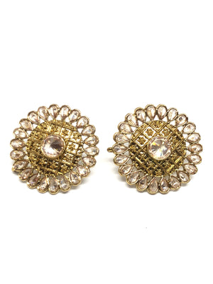 Indian Style Gold Round Studs