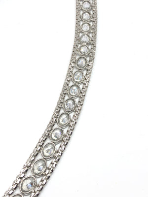 || GEET || Silver Saree Belt with Clear Stones