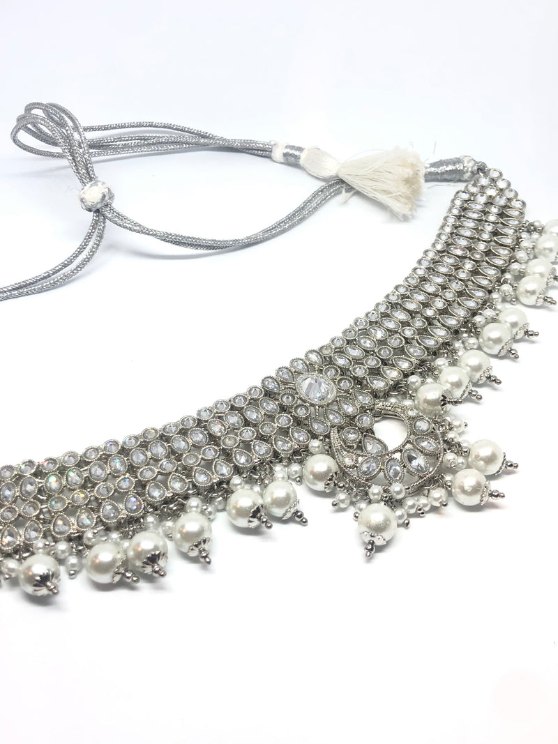 || ZOYA || Silver Necklace with Earrings & Tikka and White Pearls