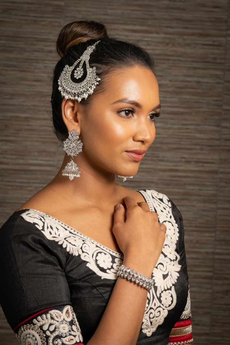 Jhoomar/Large Tikka Silver with Clear Stones & Pearls