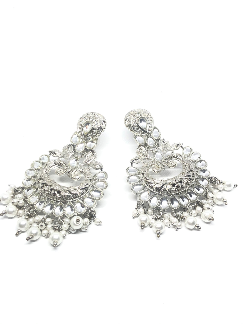 Silver Pearl Earrings with White Stones