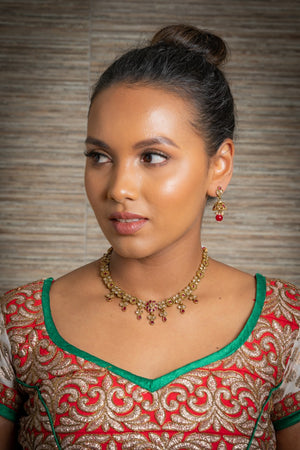 || AHANA RED || Gold Indian Necklace with Earrings in Red