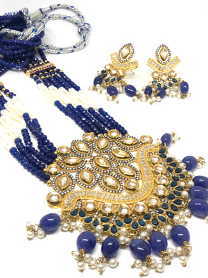 || SONI || Indian Long Kundan Style Necklace with Blue Glass Beads White Pearls with Earrings