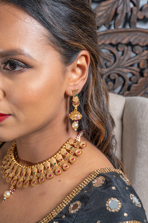 || GEETA || Green & Pink Matt Gold Temple Style Necklace with Earrings